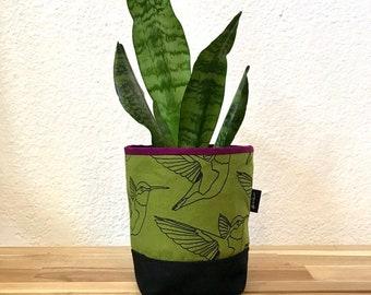 Olive Green Hummingbird Fabric Bin - Soft Pot - Canvas Bin - Screen Printed Fabric Bin / Soft Pot - 4 inch