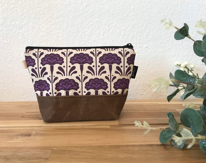 Ready to Ship - Carnation Pattern Zipper Pouch - Waxed Canvas - Cosmetic Bag - Screen Printed - Hand Printed - January Birthday - Birth Mont