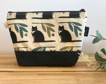 Ready to Ship - Off White Tuxedo Cat Zipper Pouch - Waxed Canvas - Cosmetic Bag - Screen Printed - Hand Printed - Notions Pouch - Gift