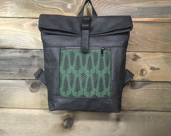 Forest Green Fern Waxed Canvas Rolltop Backpack