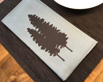 Light Blue Fir Trees Cotton Napkins