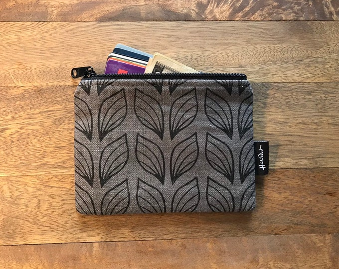 Gray Leaf Credit Card Zipper Pouch