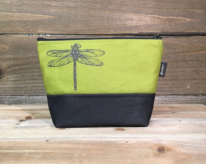 Olive Green Dragonfly Waxed Canvas Zipper Pouch