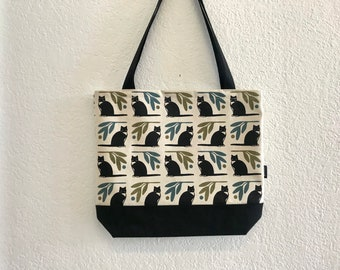 Tuxedo Cat Tote Book Bag - Canvas Tote - Screen Printed Bag - Black Cat Bag