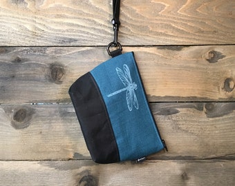 Large Teal Dragonfly Waxed Canvas Cosmetic Bag/Project Bag with Detachable Handle