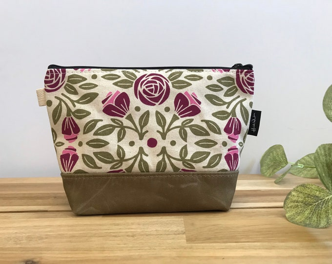 Portland Roses Zipper Pouch - Waxed Canvas - Cosmetic Bag - Screen Printed - Hand Printed - June Birthday - Birth Month