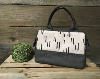 Off-White Stem Pattern Waxed Canvas Project Bag / Cosmetic Bag