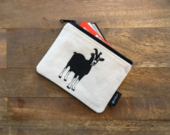 Off White Goat Credit Card Zipper Pouch