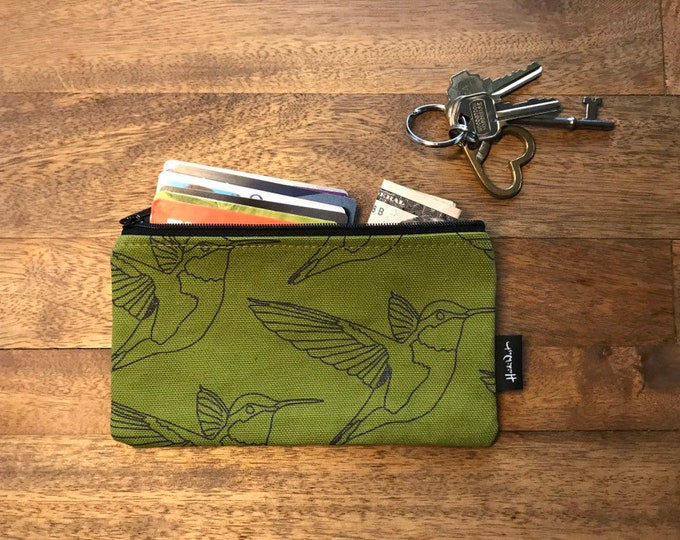 Olive Green Hummingbird 7-inch Zipper Pouch