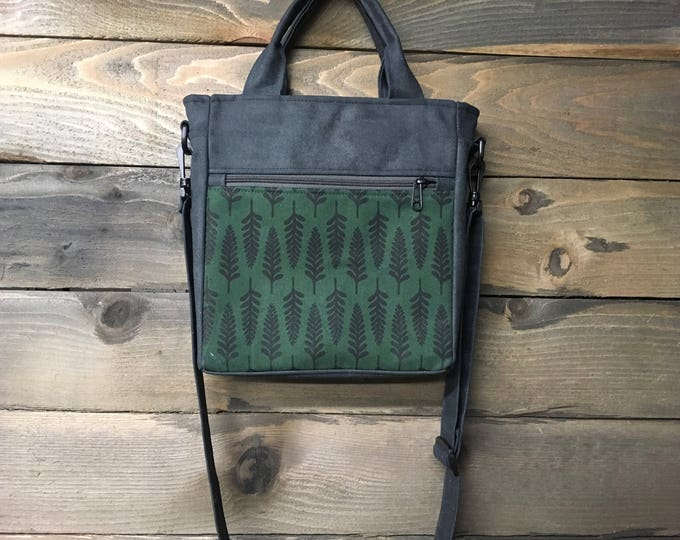 Forest Green Fern Waxed Canvas Tote Bag