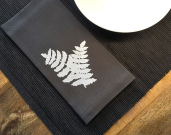 Charcoal Gray Fern Cotton Napkins