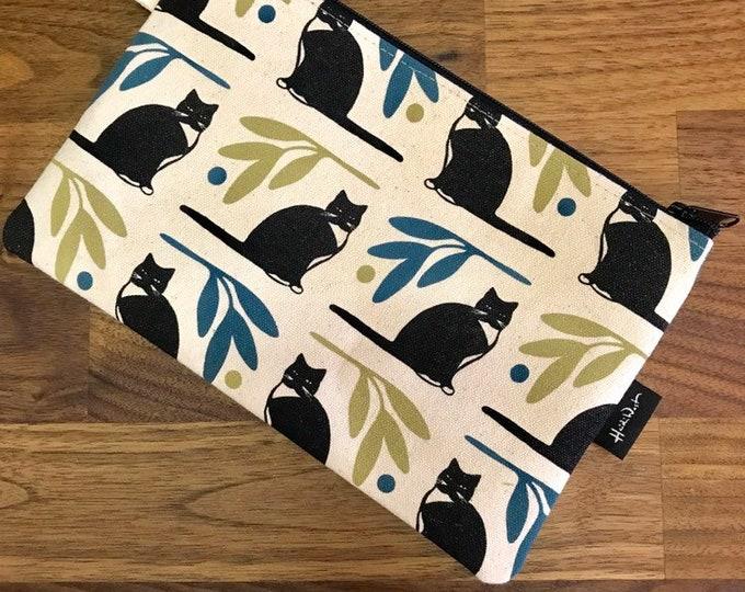 """8.5"""" Tuxedo Cat Zipper Pouch - Zipper Wallet - Screen Printed - Black Cat - Off White Zipper Pouch"""