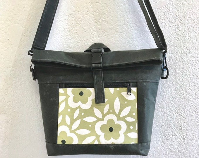 Waxed Canvas Cross Body Rolltop Purse - Messenger Bag - Canvas Bag - Screen Printed - Green Floral Print - Water Resistant - Project Bag
