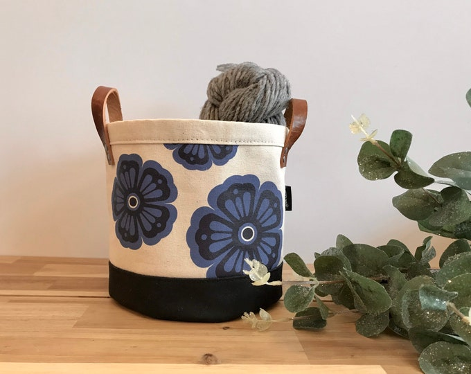 Ready to Ship - Violet Flower Motif Fabric Bin - February Birth Month - Screen Printed Fabric Bucket - Gift for February