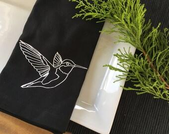 Black Hummingbird Cotton Napkins