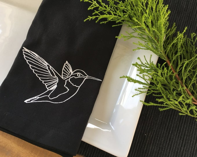 Black Hummingbird Cotton Napkins