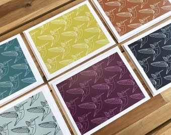 Hummingbird Greeting Cards - A2 - Set of 6 Blank Notecards - Hummingbirds