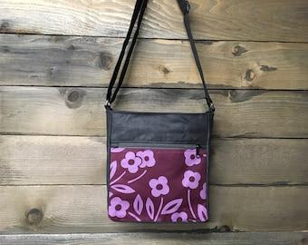 Burgundy Simple Flower Large Waxed Canvas Cross-Body Bag