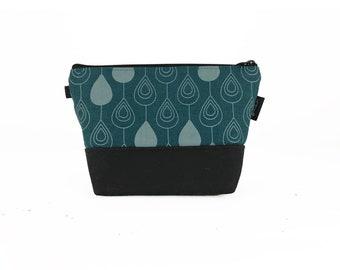 Teal Raindrop Waxed Canvas Zipper Pouch