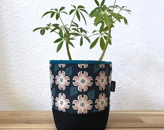 Ready to Ship - Navy Dogwood Fabric Bin - Soft Pot - Canvas Bin - Screen Printed Fabric Bin / Soft Pot - 4 inch