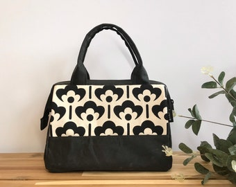 Ready to Ship - Waxed Canvas Project Bag - Black and White Meadow Flower - Knitting Bag - Screen Printed Bag - Crochet Bag -Yarn Project Bag