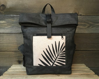 Off-White and Black Fern Waxed Canvas Rolltop Backpack