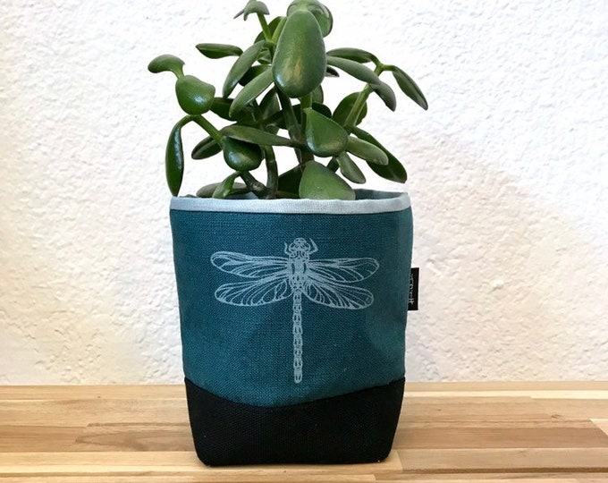 Ready to Ship - Teal Dragonfly Fabric Bin - Soft Pot - Canvas Bin - Screen Printed Fabric Bin / Soft Pot - 4 inch