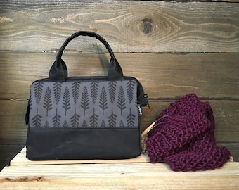 Charcoal Gray Waxed Canvas Project Bag / Cosmetic Bag