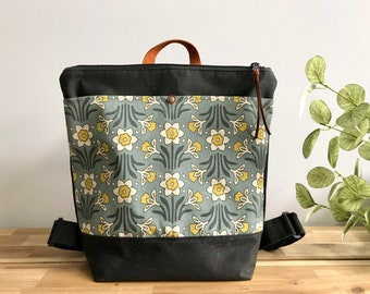 Made to Order - Waxed Canvas Backpack - Canvas Bag - Backpack purse - Screen Printed - Daffodil Pattern - Water Resistant Bag - March