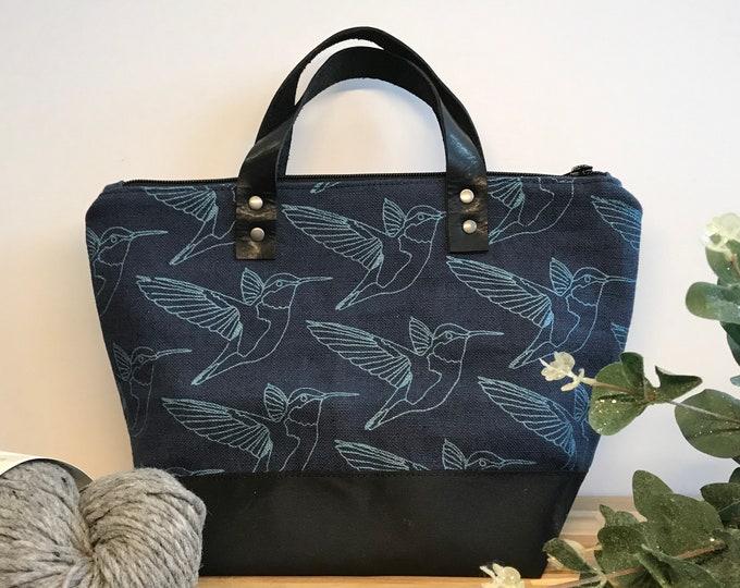 Waxed Canvas Project Bag - Screen Printed - Hummingbird Print - Yarn Bag - Crochet Bag