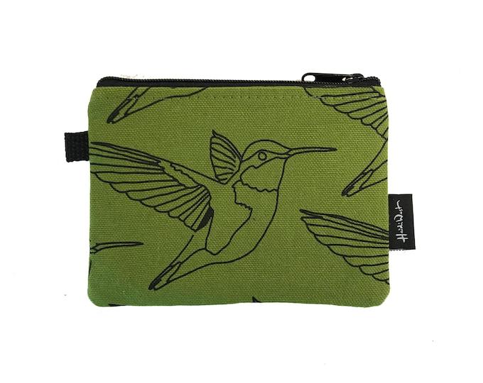 Olive Green Hummingbird Credit Card Zipper Pouch