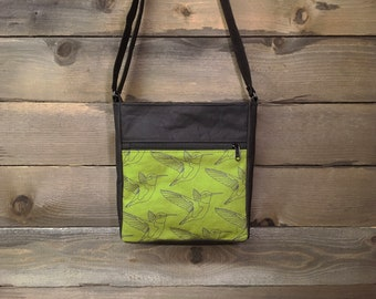 Olive Green Hummingbird Large Waxed Canvas Cross-Body Bag