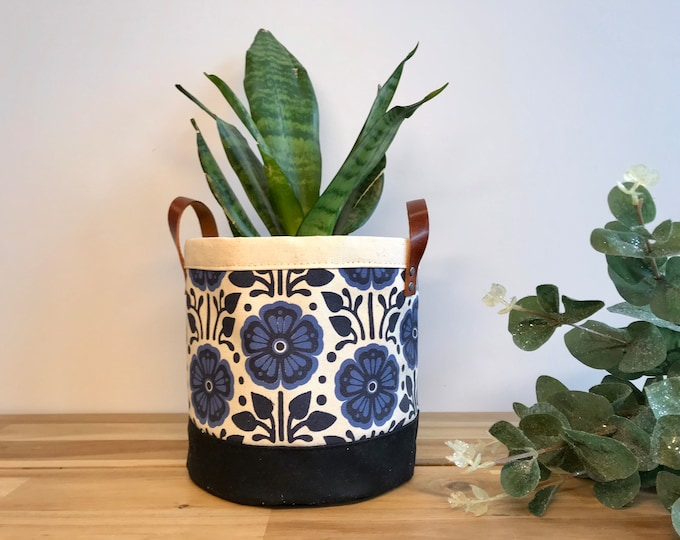 Ready to Ship - Violet Flower Pattern Fabric Bin - February Birth Month - Screen Printed Fabric Bucket - Gift for February