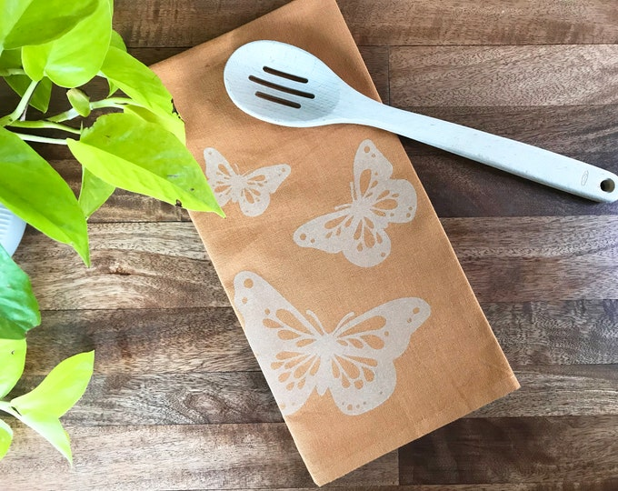 Yellow Butterflies Hand Printed Tea Towel