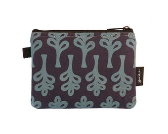 Navy Curly Trees Credit Card Zipper Pouch