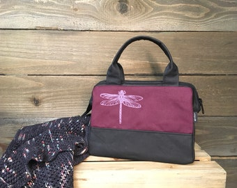 Burgundy Dragonfly Waxed Canvas Project Bag / Cosmetic Bag
