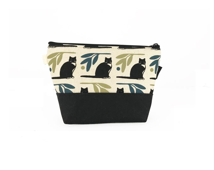 Off White Tuxedo Cat Waxed Canvas Zipper Pouch
