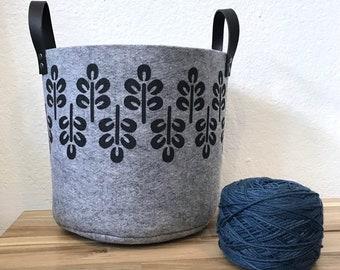 Ready to Ship - Gray Felt Fabric Bin with Abstract Trees - Felt Basket - Screen Printed Fabric Bucket