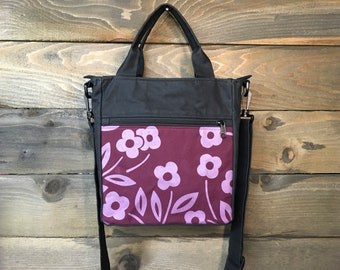 Burgundy Simple Flower Waxed Canvas Tote Bag