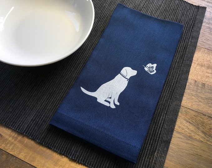 Navy Blue Dog and Butterfly Cotton Napkins