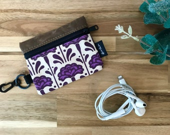 Ready to Ship - Mini Pouch - Carnation Pattern Zipper Pouch - Zipper Wallet - Screen Printed - January Birth Month - Earbud Pouch