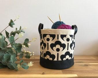 Ready to Ship - Black and White Meadow Flower Pattern Fabric Bin - Screen Printed Fabric Bucket - Yarn Bin