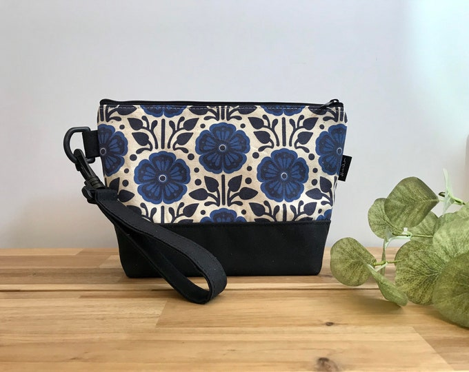 Large Violet Pattern Zipper Pouch - Waxed Canvas - Cosmetic Bag - Screen Printed - Hand Printed - February Birthday - Birth Month