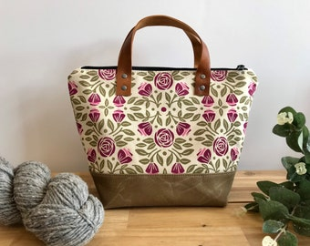 Portland Roses Waxed Canvas Project Bag - Screen Printed - Knitting Bag - June Birth Month Flower - Yarn Bag - Crochet Bag