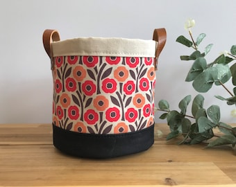 Poppy Fabric Bin - Plant Bin - August Birth Month - Screen Printed Fabric Bucket - Gift for August