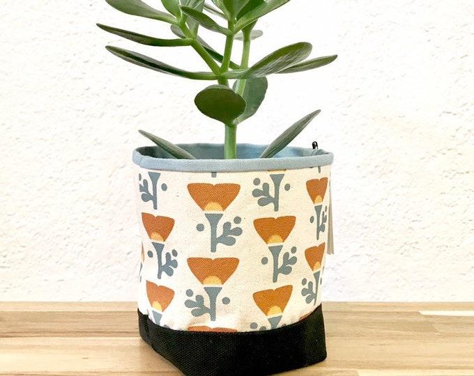 Ready to Ship - Orange California Poppy Fabric Bin - Poppy Soft Pot - Canvas Bin - Screen Printed Fabric Bin / Soft Pot - 4 inch