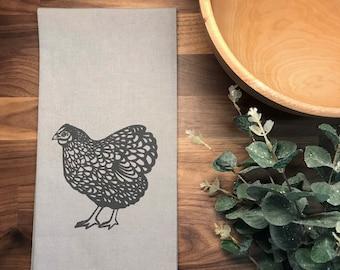 Chicken Hand Printed Tea Towel - Cotton - Gray - Housewarming Gift - Hand Towel - Farm Animal - Screen Printed