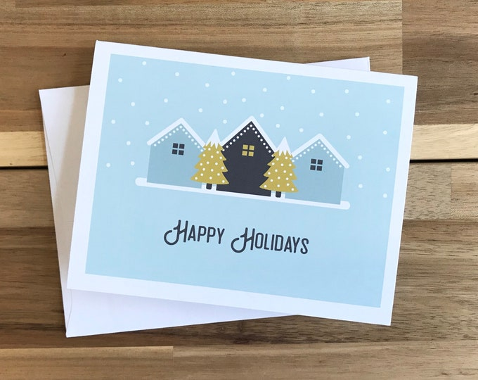 Holiday Greeting Cards - A2 - Set of 6 Blank Notecards - Little Houses