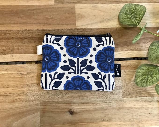 Violet Pattern Zipper Pouch - Zipper Wallet - Screen Printed - Credit Card Zipper Pouch