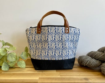 Larkspur Waxed Canvas Project Bag - Screen Printed - Knitting Bag - July Birth Month Flower - Yarn Bag - Crochet Bag